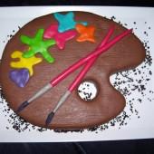 306.Marcipánový modelovaný dort – malířská paleta