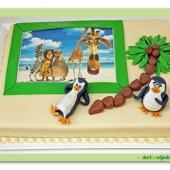 128.Marcipánový dort Madagaskar  s jedlou fotografií