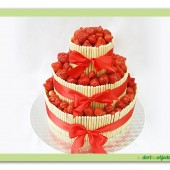 193.Čokoládový dort s čerstvými jahodami patrový a textilní mašlí