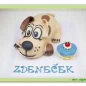 228. Modelovaný marcipánový dort 3D – Štěňátko