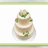 180.Velký svatební marcipánový dort s bílými růžemi