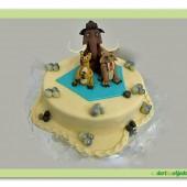 141.Marcipánový dort s dekorem  Doba ledová