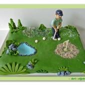 287.Marcipánový dort – golfista na greenu