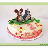 78.Marcipánový dort s dekorem  Krteček a myška