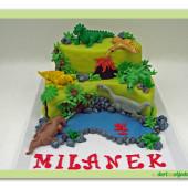 91.Dinosauří Ztracený svět – patrový marcipánový dort