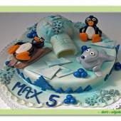 90.Marcipánový dort s dekorem Pinguini – tučňáci