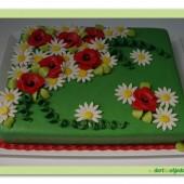 206. Marcipánový slavnostní dort s květinami