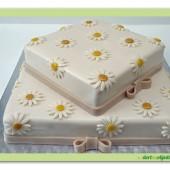 177.Svatební marcipánový dort s kopretinami