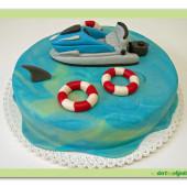 144.Marcipánový dort s člunem