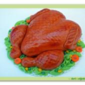 18.Marcipánový modelovaný dort 3D – pečené kuřátko se zeleninou