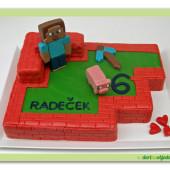 64.Marcipánový dort na téma Minecraft