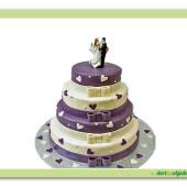 174. Marcipánový třípatrový svatební kulatý dort s mašlemi a dekory