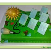 296.Marcipánový dort s tematikou solární energie
