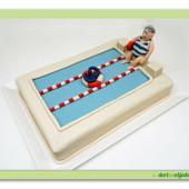 """271. Marcipánový modelovaný dort """" bazén s plavčíkem """""""