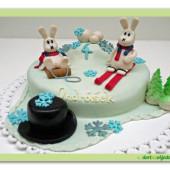 14.Marcipánový modelovaný dort Bob a Bobek v zimě