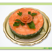 204. Slaný rybí dort s lososovou růží