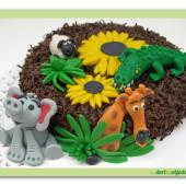 """40. Čokoládový dort s pařížským krémem a marcipánovými dekory """"Safari"""""""