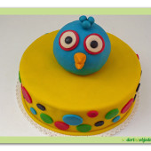 35. Marcipánový dort Angry birds modrý
