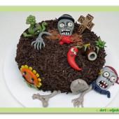 21. Plants vs Zombies – čokoládový dort s marcipánovou modelací