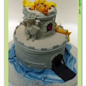 337. Marcipánový dort 3D – Hrad s drakem a rytířem
