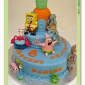 344. Marcipánový modelovaný dort Sponge Bob – velký