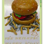 398. Hamburger – marcipánový 3D dort