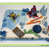 406. Krteček a přátelé – zimní motiv marcipánový dort