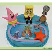 385. SPONGE BOB , Patrick a Sepiák- marcipánový dort