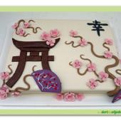 461. Marcipánový dort s japonskými motivy a symbolem štěstí