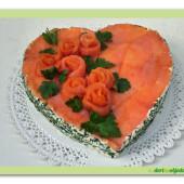 484. Slaný rybí dort –  srdce s lososovými růžemi