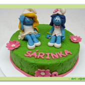 522. Šmoulinkový marcipánový dort
