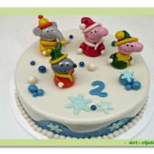 519. Marcipánový dort – Zimní prasátko pepa s kamarády