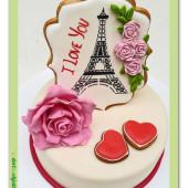 548. Valentýnský dort 3. Eiffelovka s růží