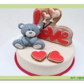 549. Valentýnský dort 4. Love s medvídkem