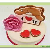 546. Valentýnský dort 1.Medvídek s růží