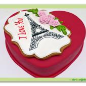 550. Valentýnský dort  5. Srdce s Eiffelovkou