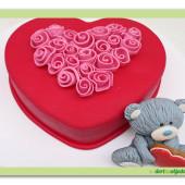 552. Valentýnský dort 7. Srdce s medvídkem