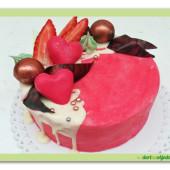 627. Valentýnský čokoládový dort s jahodami