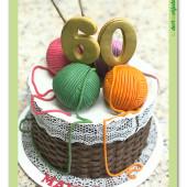 671.Košíček s klubíčky a jehlicemi – marcipánový dort